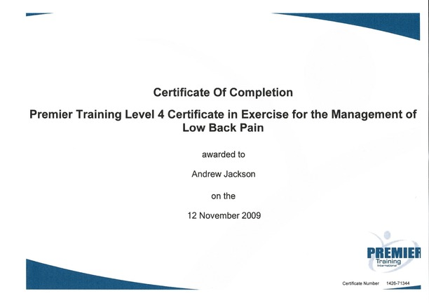 Personal Training Level 4 Certificate in Exercise for the Management of Lower Back Pain