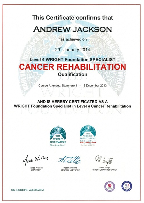 Personal Training Level 4 Certificate in Cancer Rehabilitation